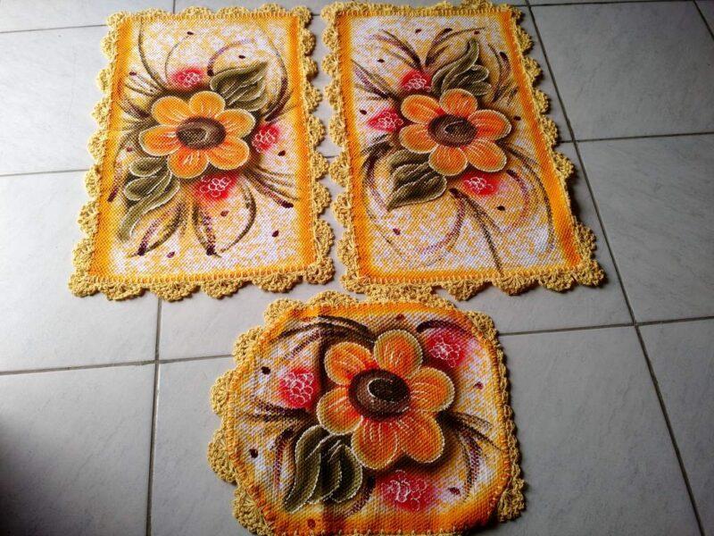 Jogo de tapete para banheiro floral amarelo 3 peças 1