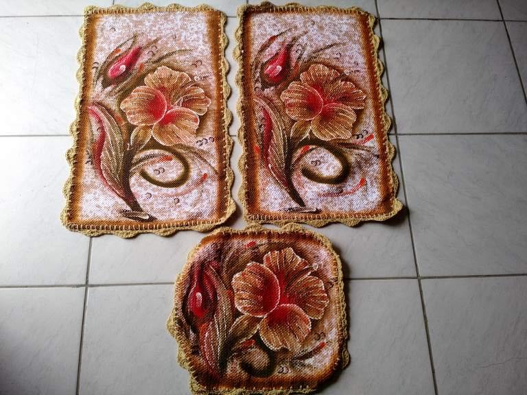 Jogo de tapete para banheiro floral colorido 3 peças 1