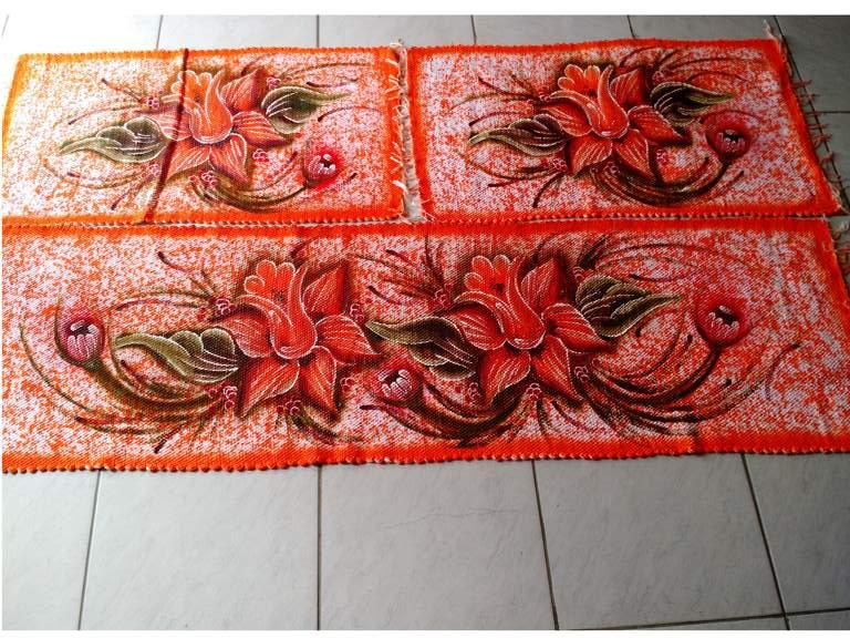 Jogo de tapete para cozinha laranja com flores 3 peças 1