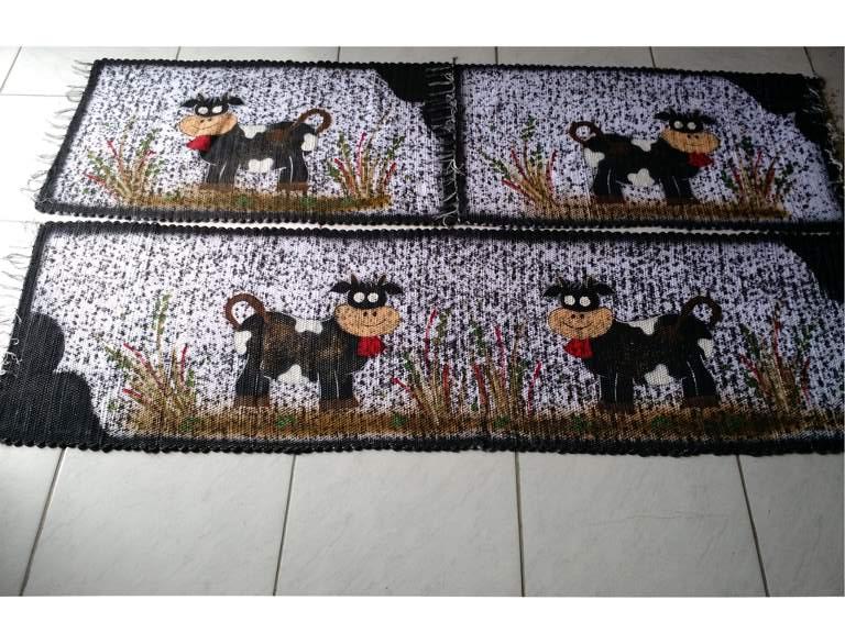 Jogo de tapete para cozinha preto com vaquinhas 3 peças 1