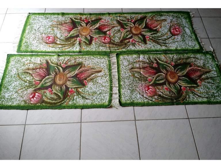 Jogo de tapete para cozinha verde floral 3 peças 1