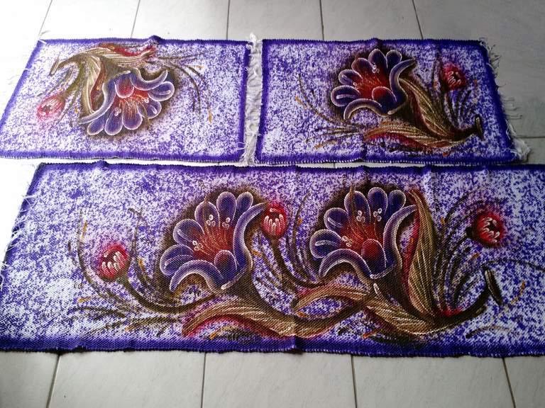 Jogo de tapete roxo florido para cozinha 3 peças 1