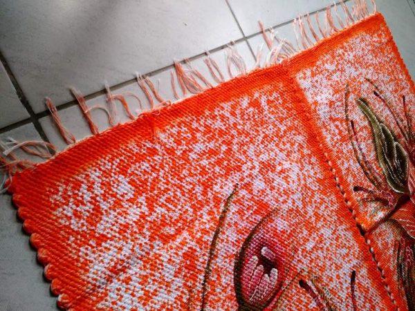 Jogo de tapete para cozinha laranja com flores 3 peças 2