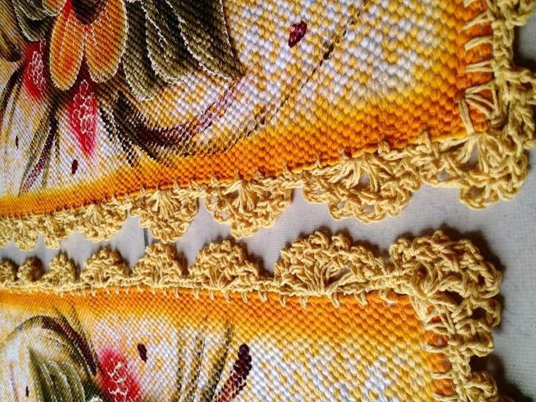 Jogo de tapete para banheiro floral amarelo 3 peças 5