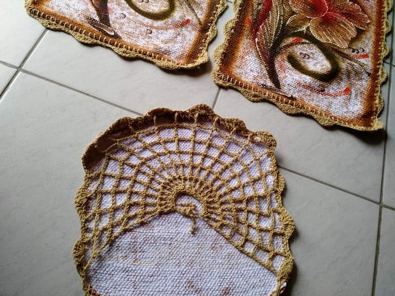 Jogo de tapete para banheiro floral colorido 3 peças 3