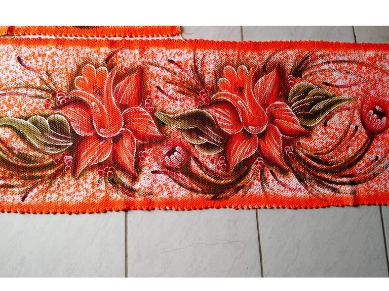 Jogo de tapete para cozinha laranja com flores 3 peças 5