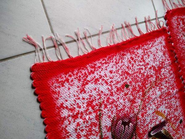 Jogo de tapete com flores vermelho para cozinha 3 peças 2
