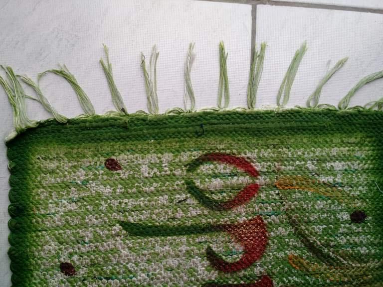 tapete bem vindo pequeno verde