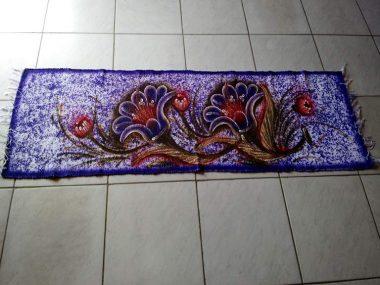 tapete roxo florido grande 2m