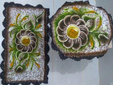 jogo de banheiro pintado 2 peças com flor marrom