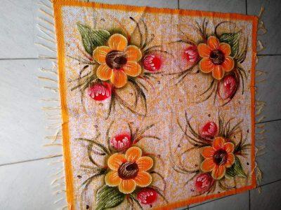 tapete médio laranja florido