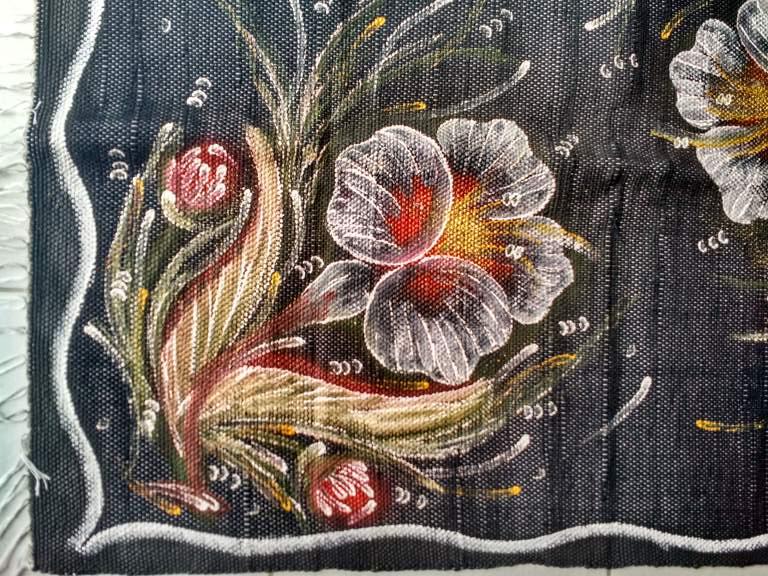 meia manta preta flores