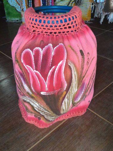 Capa para Botijão de Gás Rosa com Flor e Croche