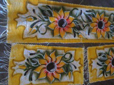 Jogo de Tapetes para Cozinha 3 Peças Amarelo com Girassol